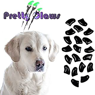 Pretty Claws 60 Piece Soft Nail Caps with Adhesive for Dog Paws - Jet Black