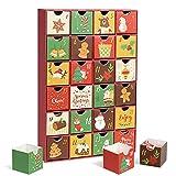 LEMESO 24 Scatole di Calendario dell'Avvento per Natale, con 24 Cassetti da Riempire, Scatole di Cartone da Regali Natalizi per Portare Confetti Caramelle Cioccolatini Dolcetti per Bambini