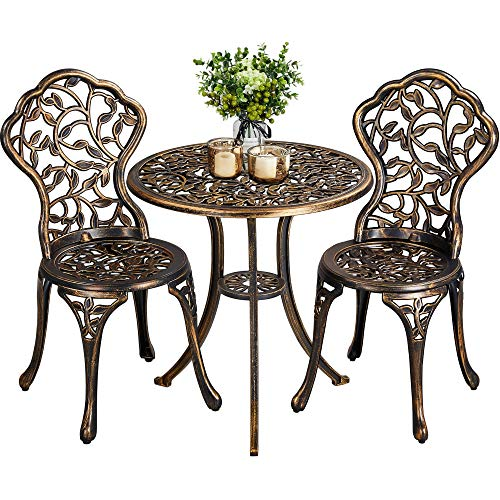 YAHEETECH 3-Piece Outdoor Bistro Set w/Leaf Design, Rust-Resistant Cast Aluminum Table and Chairs for Balcony Backyard Garden