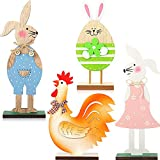 4 Pieces Easter Wooden Table Decorations Bunny Egg Wood Ornaments Easter Table Decor Centerpieces Easter Wooden Standing Decoration Easter Wood Crafts Presents for Inside Home Easter Party Table Top
