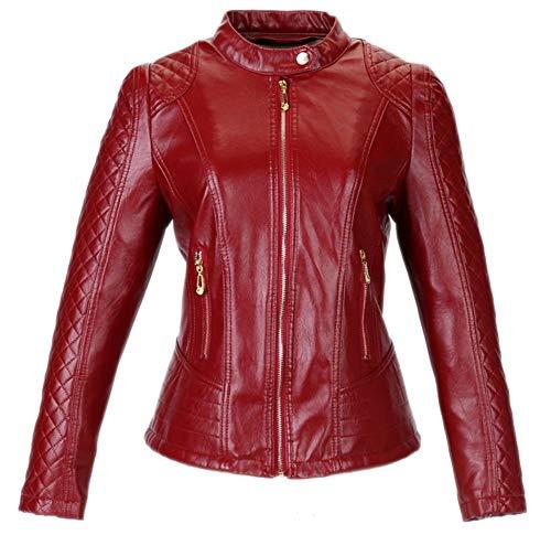 Adelina Leren jack dames Fashion herfst winter grote maten kunstlederen jas mantel hoogwaardig meisjes slank vrije tijd overgang lange mouwen met rits bikerjack Outerwear