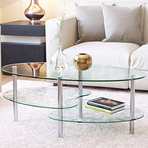 Mecor Glass Coffee Table with 2 Tier Tempered Glass Boards & Sturdy Chrome Stainless Steel Legs-Clear Oval Glass End Table Coffee Tea Table