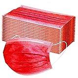 Unbr 50 Pezzi di Protezione USA E Getta, con Orecchini, Antipolvere, 3 Strati di Protezione (Anguria Rossa)
