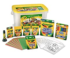 CRAYOLA ARTS & CRAFTS KIT: Includes 16ct Classic Crayons, 16ct Glitter Crayons, 16ct Construction Paper Crayons, 8ct Pipsqueaks Skinnies MINI Markers, 12ct SHORT Colored Pencils, 30 Coloring Pages, 30 MINI Construction Paper Sheets, 1 Washable Glue S...