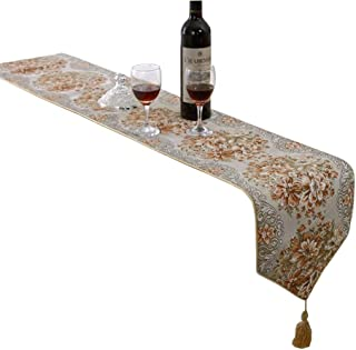 HomeyHo Table Runner Party Decorations Natural Home Table Runner Long European Table Runner End Table Runner for Living Room Dinner Room Table Runner for Kitchen Table, 11 x 98 Inch, Gold