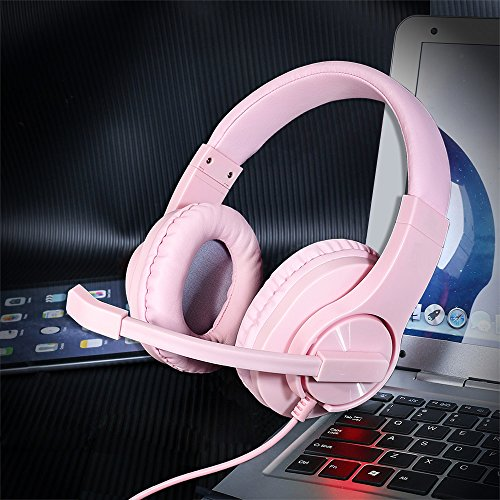 Headset Gaming for PS4,Xbox One Controller,Wired Noise Isolation, Over-Ear Headphones with Mic,Stereo Gamer Headphones 3.5mm (Pink)
