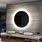 Artforma 90 cm Espejo Redondo de Baño con Iluminación LED - Luz Espejo de Pared con Accesorios - Diferentes tamaños para Baño Dormitorio Maquillaje - L76