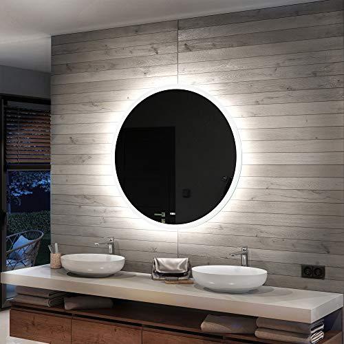 Artforma Rund Badspiegel mit LED Beleuchtung 85cm - Wählen Sie Zubehör - Individuell Nach Maß - Beleuchtet Wandspiegel Lichtspiegel Badezimmerspiegel   beleuchtet Bad Licht Spiegel L76