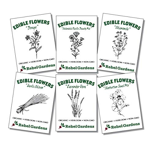 Organic Edible Flower Seeds - Non GMO Variety Pack for Planting Outdoors - Nastrurtium, Lavender, Borage, Chives, Chamomile, Clendula