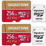 Gigastone 256GB Tarjeta de Memoria Micro SD, Paquete de 2, grabación de Video 4K, GoPro, Cámara de Acción, Cámara Deportiva, Compatible con Nintendo Switch, 100/50MB/s Lec/Esc, UHS-I A1 V30 Class 10