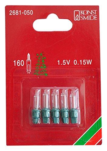 Konstsmide 2681-050 Ersatzbirne / für Lichternetze / 1,5V, 0,15W / 5er Blister / grüne Steckfassung