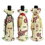 Histoire de Noël 3 pièces sacs de couverture de bouteille de vin avec cordons pour dîner dégustation de vin Table de fête Champagne