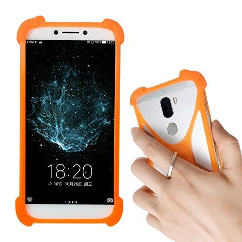 Lankashi Orange Silikon Schutz Tasche Hülle Hülle Ring Halter Ständ Cover Handy Etui Handyhülle Handytasche Für Phicomm Energy M+ 3+ L Passion 4s Brondi 620 SZ 730 Mobistel T6 T8 F3 F4 F5 F6 Universal