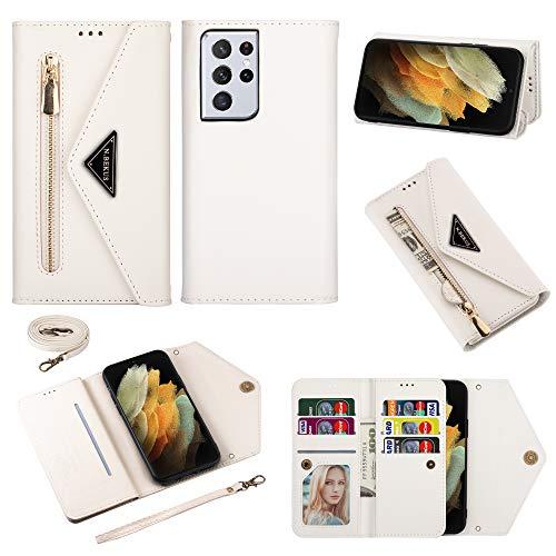 TOPOFU Funda para Samsung Galaxy S21 Ultra 5G Case, Cartera de Cuero Real Suave para Celular Monedero para Mujer Monedero para Mujer Bolso para Teléfono Crossbody-Blanco