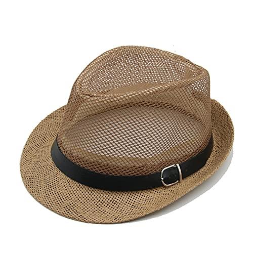 WAZHX Sombrero De Hombre Panamá Cuero Sólido Vestido Clásico Iglesia Decoración De Boda Sombrero De Hombre Sombrero De Hombre Negro Sombrero 56-58Cm 12