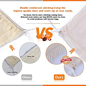 Unbleached Cheesecloth Bags Strainer Reusable - Nut Milk Bags Straining Almond Milk/Tea/Coffee/Juice/Soup, 4 Pack |
