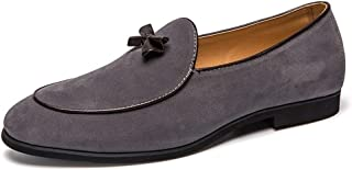 AiHua Huang Oxford Shoes for Men Formal Shoes Slip On Style Suede OX Leather Personality with Classic Bowknot (Color : Gray, Size : 6.5 UK)