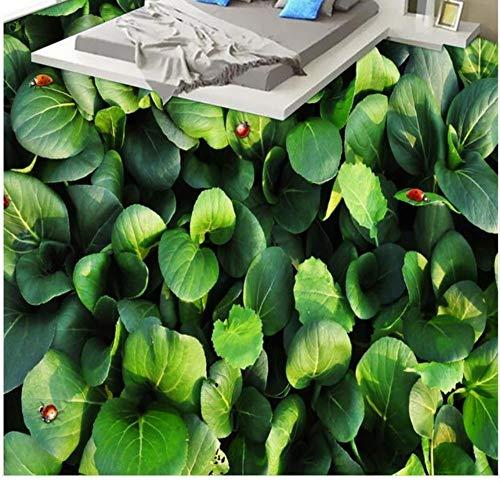 Azulejos de suelo 3D Papel tapiz de jardín vegetal para la habitación de los niños Aseo Baño Dormitorio Papel pintado autoadhesivo Suelo 3D-200X140CM