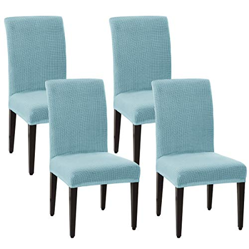 SU SUBRTEX Stretch Dining Chair Covers for Dining Room Chairs Jacquard Chair Slipcovers Removable Washable Short Dining Chair Protector for Party/Wedding(Set of 2, Light Blue)