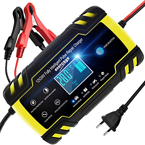 NWOUIIAY Cargador de Batería 8A 12V/4A 24V Mantenimiento Automático Inteligente con Múltiples Protecciones para Coche Moto ATV RV Barco
