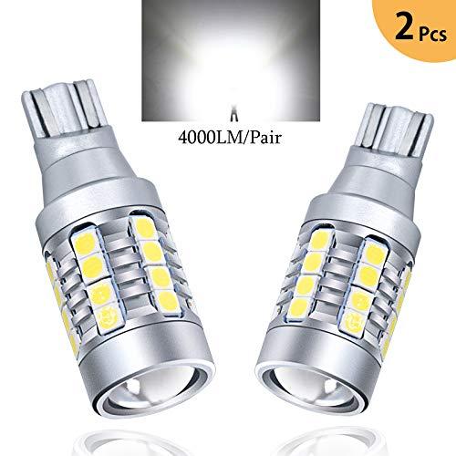 TORIBIO Lighting Brightest T15 912 921 LED Back-Up Reverse Light Bulbs 4000Lm CANBUS 921 LED Bulb W16W LED Bulbs 921 LED Back Up Reverse Light for Car Truck RV, 6000K Xenon White 2pcs