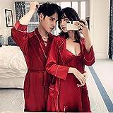 nobrand FJSD Seiden-Pyjama für Liebhaber, zweiteilig, dünn, lose Schlafanzug, Bademantel