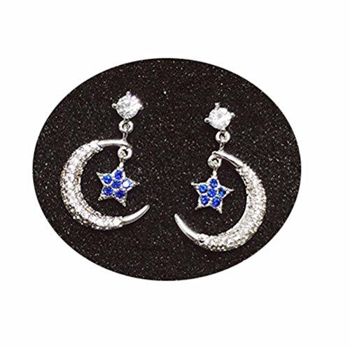 HGHJ Star Moon Pendientes Temperamento Corea Pendientes creativos Personalidad Pendientes Pendientes Pendientes,Plata,Un Tamaño