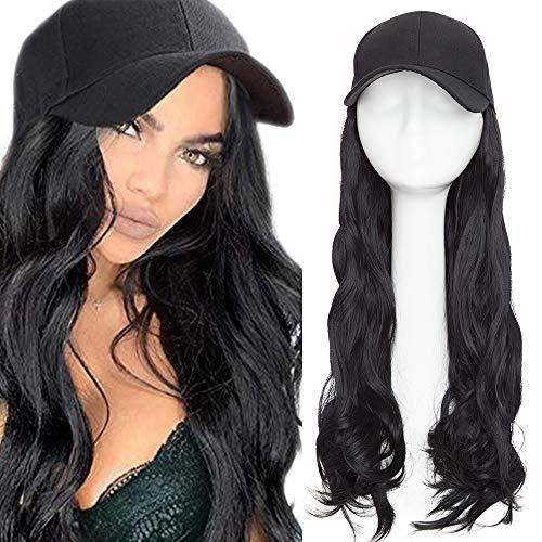 Haar Extension mit Baseballmütze Wig Haarverlängerungen Gewellt Haarteil wie Echthaar Schwarz#1