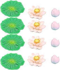 POPETPOP 12pcs Artificial Floating Lotus Flowers Water Lily Pads Aquarium Fish Tank Decoration for Terrariums Miniature Fairy Garden Pool Patio Pond Wedding Decor