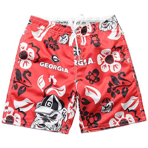 Wes and Willy NCAA Mens Floral Swim Shorts (Large, Georgia Bulldogs)
