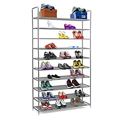 Halter 10 Tier Stackable Shoe Rack Storage Shelves - Stainless Steel Frame Holds 50 Pairs Of Shoes - 39.125  X 11.125  X 69.5  - Gray