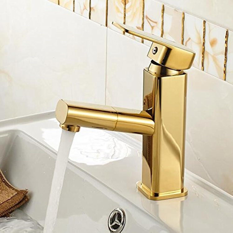 Mkkwp Badezimmer Waschbecken Wasserhahn Messing Einzigen Griff Heie Und Kalte Herausziehen Gold Badezimmerhhne Tippen
