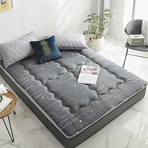 MYYU Cotone Spesso Non-Scivolare Sleeping Pad,Trapuntato Pieghevole Roll Up Materasso Tradizionale Giapponese Materassi Letto Futon Tatami Tappetino,B,1.5m×2.0m