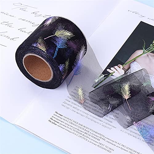 HOUJHUR Star Iridescent Moon Tulle Tulle Tulle 25Yards Ruban Mesh Tutu Pom Bow Plume Soft Plume de Couture Illustrus (Color : Noir, Size : 12cm x25y)