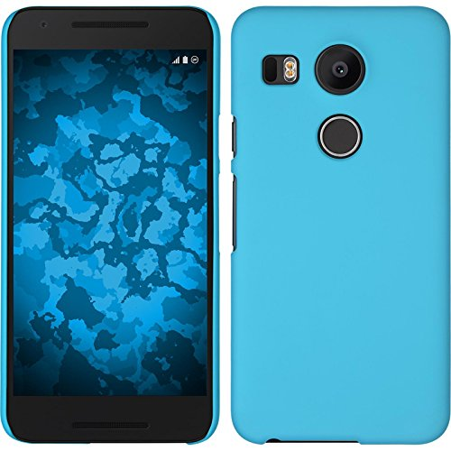 PhoneNatic Hülle kompatibel mit Google Nexus 5X - Hülle hellblau gummiert Hard-case + 2 Schutzfolien