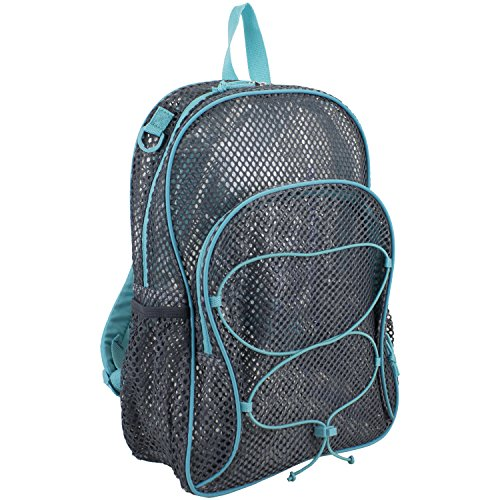 Eastsport Mesh Bungee Backpack, Gray/Mint, One Size