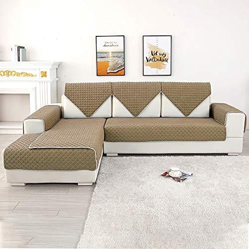 SurfMall Fundas de sofá seccionales Antideslizantes en Forma de L Protectores de Muebles para Perros Gatos Asiento de Amor para Mascotas Reposabrazos Protección Completa (1pc 90x120cm, Caqui)