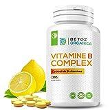 Detox Organica-Vitamine B Complex-180 Comprimés pour une cure de 6 Mois-Cocktail de 8 Vitamines (B1/B2/B3/B5/B6/B8(Biotine)/B9(Acide Folique)/B12)