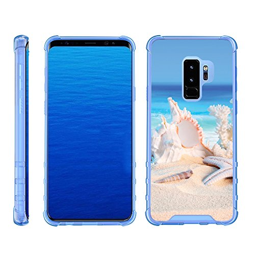 TurtleArmor | Compatible with Samsung Galaxy S9 Case | G960 [Flexible Armor] Slim Fitted Flexible TPU Case Clear Cover Shock Bumper with Blue Edges Ocean Beach - Conch Shell