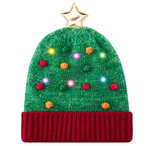 Belovecol Weihnachten Mütze Hüte Unisex-LED leuchten Strickmütze Cap Top mit Stern Funny Xmas Warm für den Winter, Grün