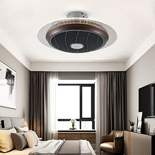 Ceiling Fan with Light, LED Ultra-Thin Round Wrought Iron...