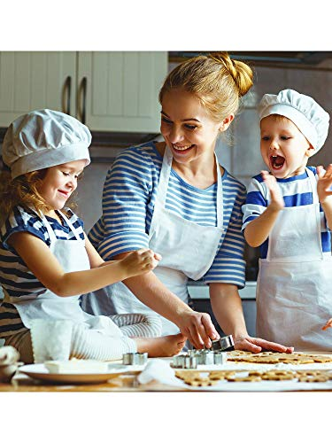 SATINIOR 8 Pieces Kids Apron and 8 Pieces Chef Hat Set Kids Apron with 2 Pockets Children Adjustable Chef Apron and Hats for Boys Girl's Kitchen Cooking Baking Painting Wear(White,M for 7-13 Age)