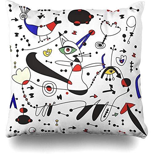 Not applicable Housse de Coussin carré 18x18 Pouces Miro Inspiration décoratif taie d'oreiller décor à la Maison taie d'oreiller
