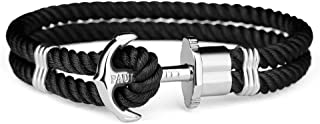 Anchor Bracelet for Men and Women PHREP - Anchor Unisex Bracelet Nylon (Black), Sailcloth Bracelets for Men and Women with Anchor Jewelry Made of Stainless Steel