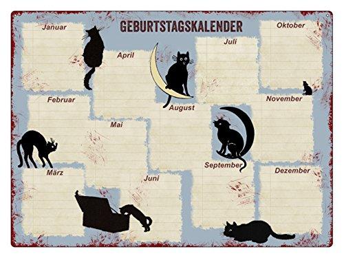 Interluxe Kalender Metall GEBURTSTAGSKALENDER * Katzen * Wandkalender