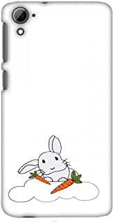 AMZER Slim Fit Handcrafted Designer Printed Snap On Hard Shell Case Back Cover for HTC Desire 826 - Bunny and His Carrots- Transparent HD Color, Ultra Light Back Case