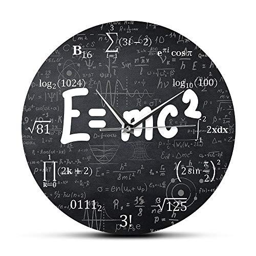 HFWYF 30 cm (12 Zoll) Albert Einstein E = mc2 Relativitätstheorie Mathematische Formel Freak Wanduhr Wissenschaftler Physiklehrer Geschenk Schule Klassenzimmer Dekoration
