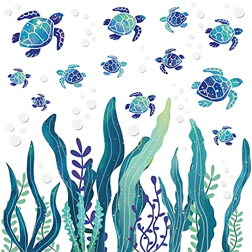2 Sets Under The Sea Wall Decals Sea Turtle Wall Stickers Ocean Grass Colorful Seaweed Decal Bubbles Vinyl Wall Sticker Sea Wall Decoration for Bathroom Toilet Bedroom Nursery Room