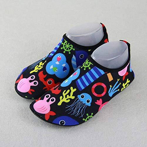 Zapatos de Agua Niños Bebes Natación ,Hombres y mujeres buceando zapatos de snorkel, niños vadeando calcetines de playa-Children's Sea World_42-43, Natación Secado rápido Agua Calcetines para la Play