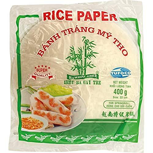 Bamboo Tree Carta di Riso (22 cm) da Utilizzare Negli Involtini Primavera e Fácile da Preparare. Qualità Premium, X 400 grammi